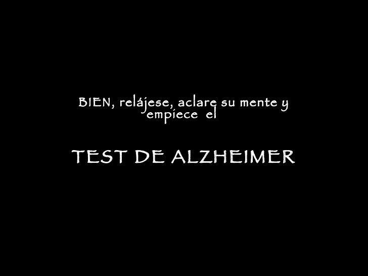 Test De Alzheimer
