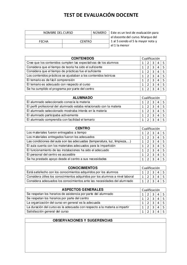 Test de evaluación docente