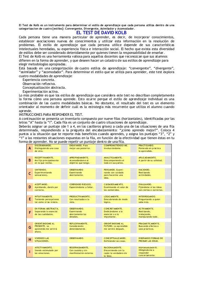 El Test de Kolb es un instrumento para determinar el estilo de aprendizaje que cada persona utiliza dentro de una categori...