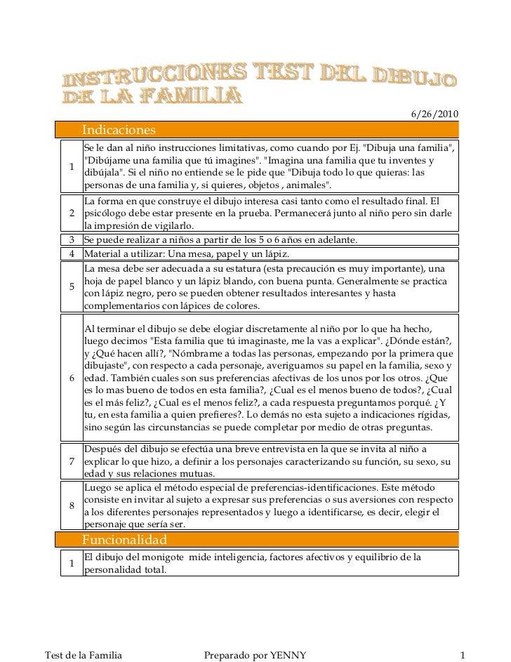 """6/26/2010          Indicaciones        Se le dan al niño instrucciones limitativas, como cuando por Ej. """"Dibuja una famili..."""