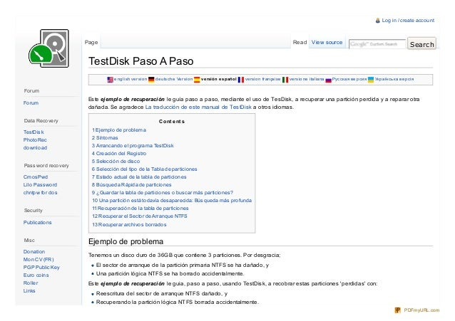 Test disk paso_a_paso
