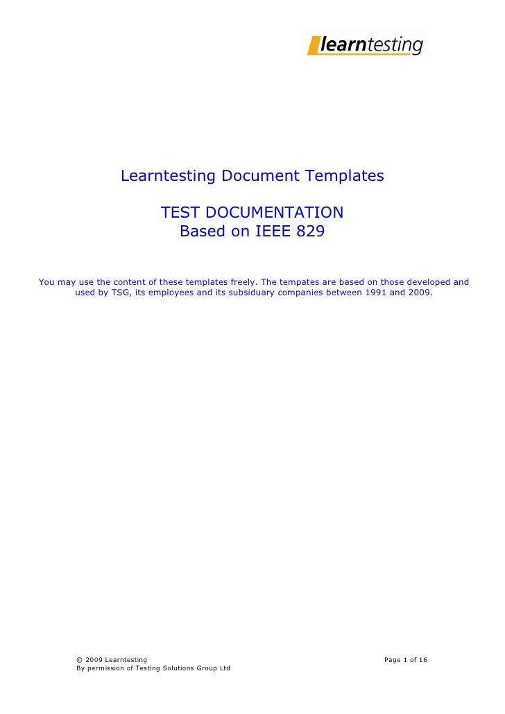 Test Documentation Based On Ieee829 155261
