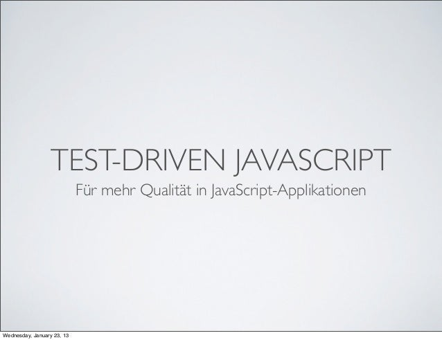Webinar Test-Driven JavaScript