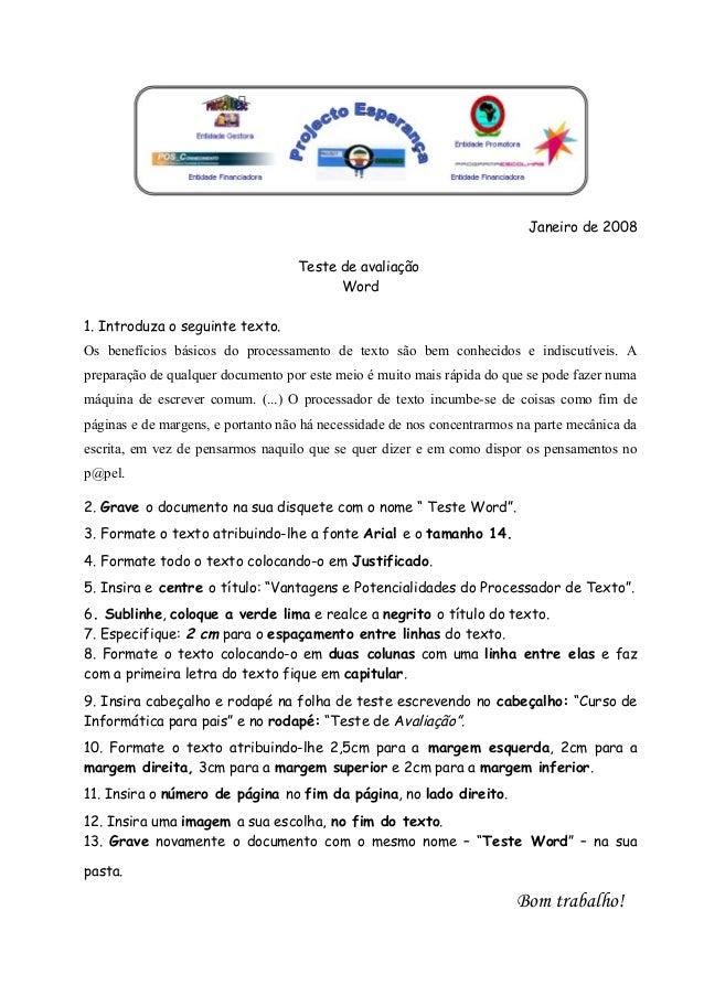 TESTE DE AVALIAÇÃO - Microsot Word