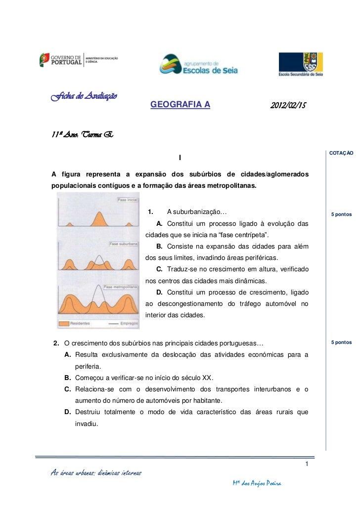 Ficha de Avaliação                                        GEOGRAFIA A                                  2012/02/1511º Ano: ...