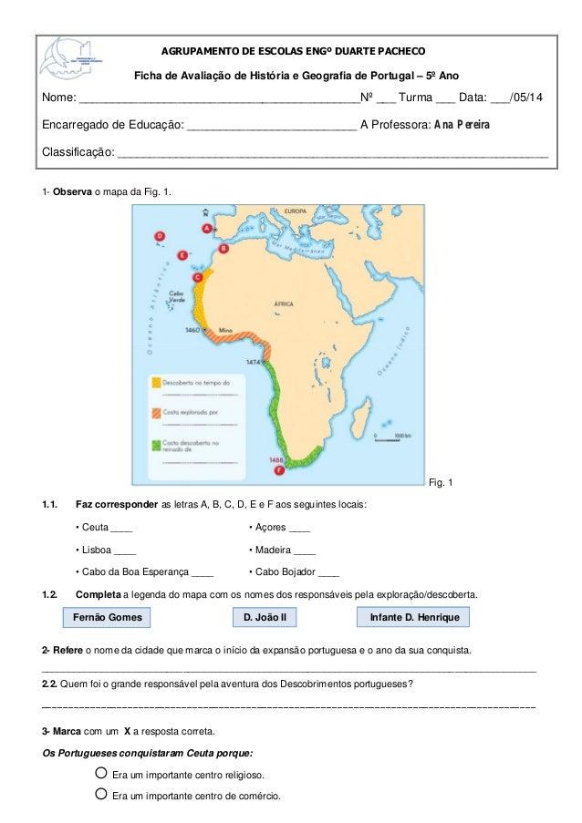 1- Observa o mapa da Fig. 1. Fig. 1 1.1. Faz corresponder as letras A, B, C, D, E e F aos seguintes locais: • Ceuta ____ •...