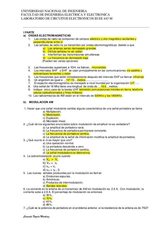 UNIVERSIDAD NACIONAL DE INGENIERIAFACULTAD DE INGENIERIA ELECTRICA Y ELECTRONICALABORATORIO DE CIRCUITOS ELECTRONICOS III ...
