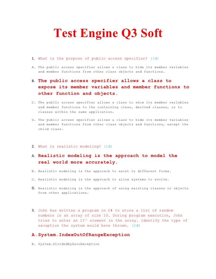 Test Engine Q3 Soft 1. What is the purpose of public access specifier? (1đ)  A. The public access specifier allows a class...