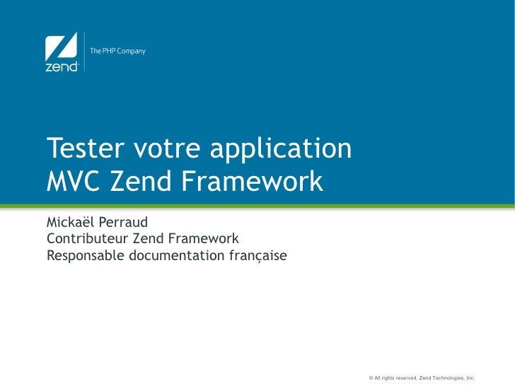 Tester les applications Zend Framework