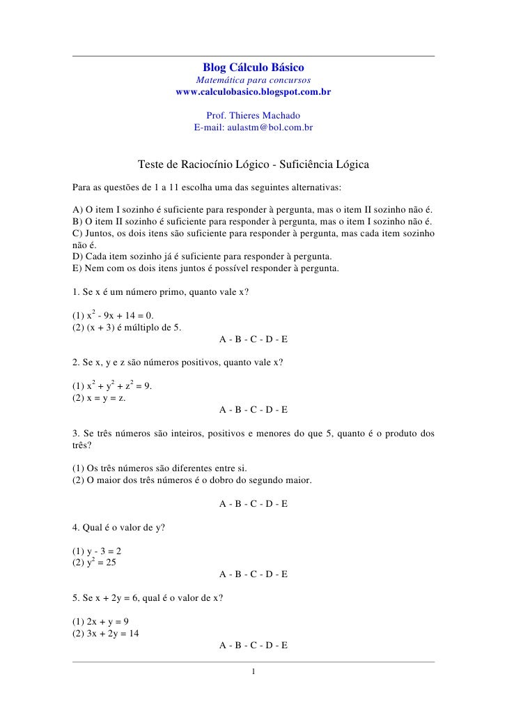 "Testes de Raciocínio Lógico: ""suficiência lógica"""