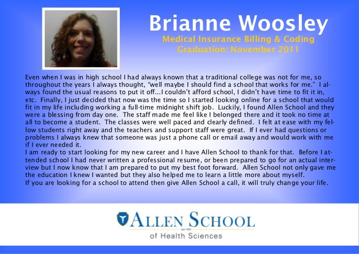Allen School Medical Billing and Coding Graduate- Brianne Woosley Testimonial