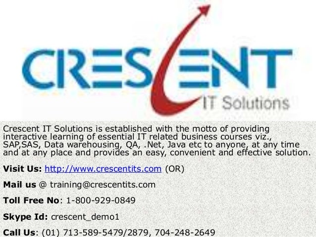 TCrescent IT Solutions is established with the motto of providinginteractive learning of essential IT related business cou...