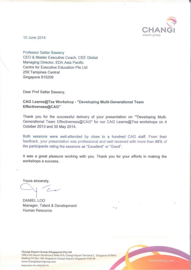 Testimonial for CEE Prof Sattar Bawany from Changi Airport Group 10 June 2014