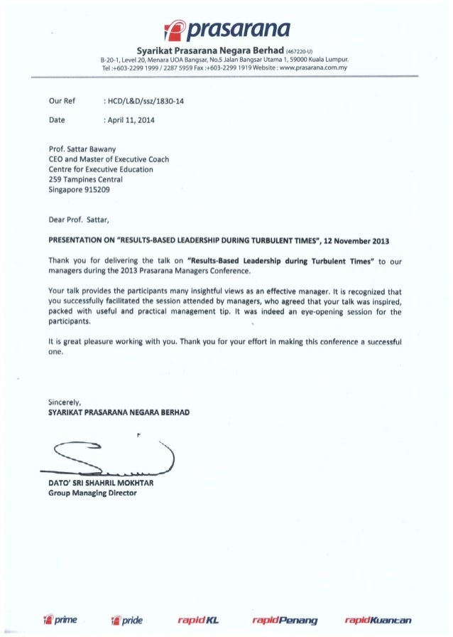 """Testimonial from Prasarana on Key Note Presentation - """"Leading During Times of Uncertainty"""" 11 April 2014"""