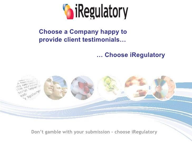 iRegulatory Testimonials