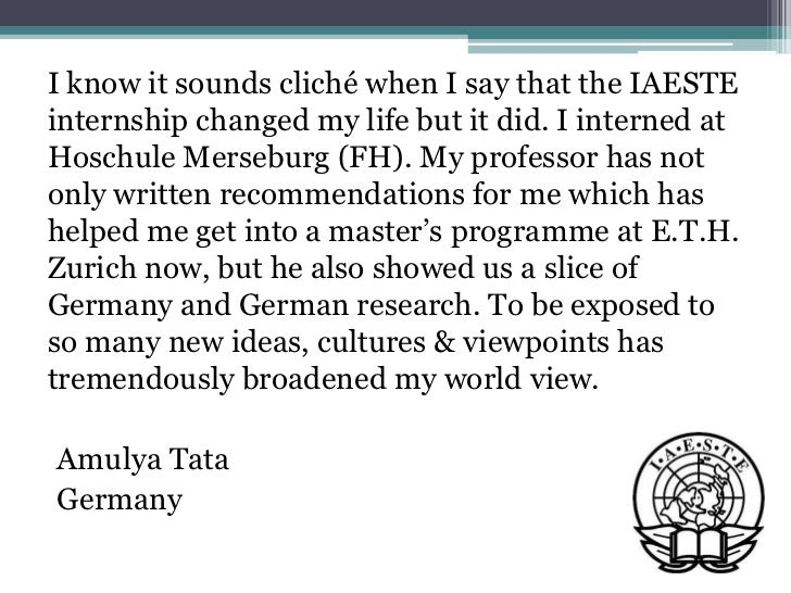 Testimonials of students who have pursued IAESTE internships