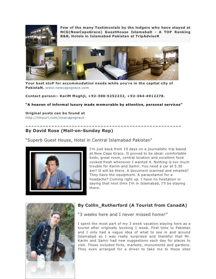 Few of the many Testimonials by the lodgers who have stayed at                   NCG(NewCapeGrace) GuestHouse IslamabaD - ...
