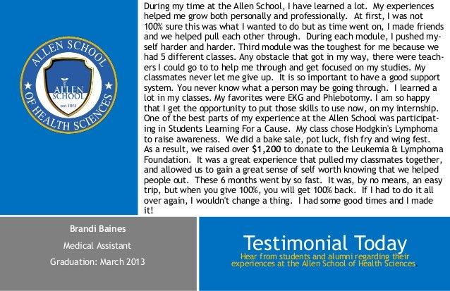 Testimonial- Brandi Baines - Medical Assistant