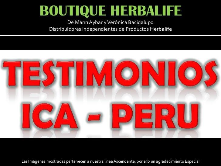 BOUTIQUE HERBALIFE                       De Marín Aybar y Verónica Bacigalupo               Distribuidores Independientes ...