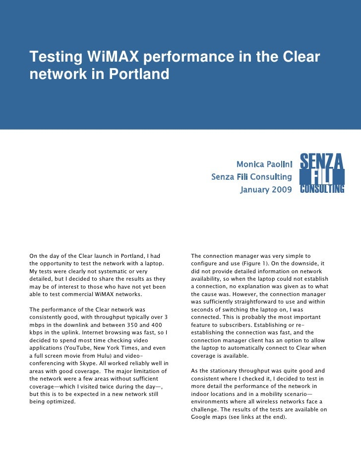 Testing WiMAX performance in the Clear network in Portland                                                                ...