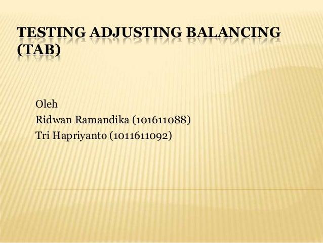 Testing, Adjusting, Balancing