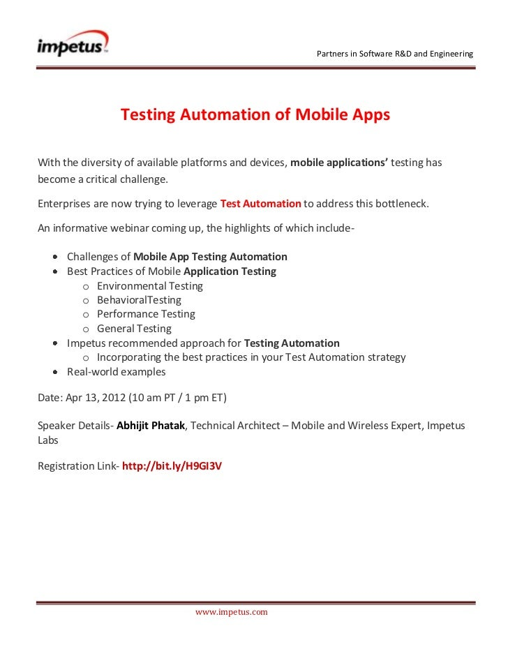 Testing Automation of Mobile Apps