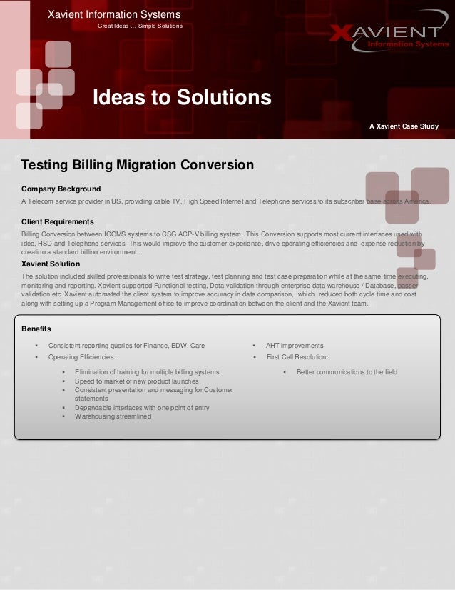 Xavient Information Systems Great Ideas … Simple Solutions Ideas to Solutions A Xavient Case Study Company Background A Te...