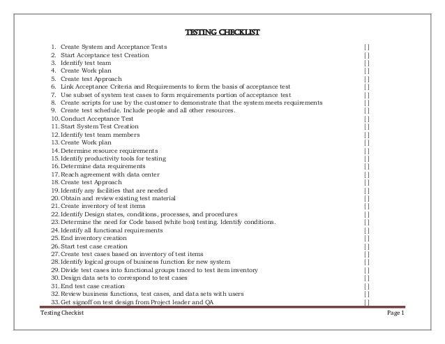 Testing check list