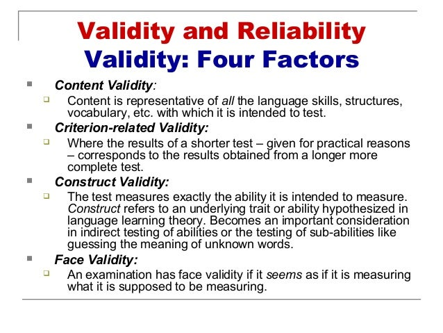 reliability and validity 2 essay Growth, and create reliable and valid assessments  2 assessments and giving  no attention to the concepts of validity and reliability to using statistical  (short  answer, essays, performance assessments with rubrics.