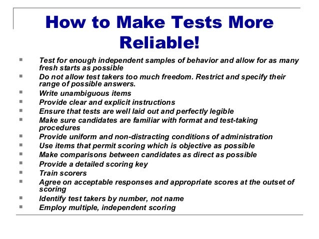 essay test reliability Schizophrenia and test-retest reliability essay classification and diagnosis of schizophrenia the two issues surrounding classification and diagnosis of schizophrenia are reliability which means getting the same or similar results when repeating a study or a test and validity which simply means.