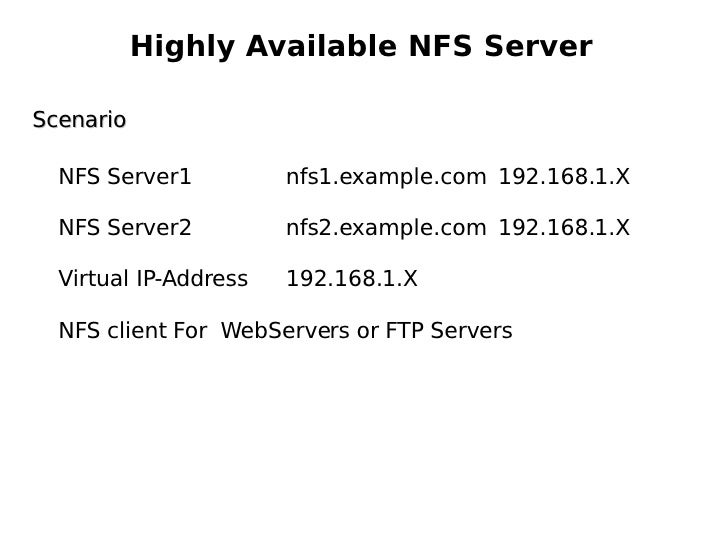 Highly Available NFS Server Scenario NFS Server1  nfs1.example.com  192.168.1.X NFS Server2  nfs2.example.com  192.168.1.X...