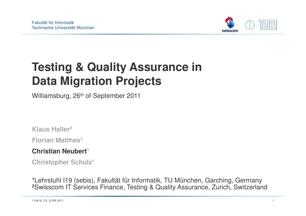 Industry - Testing & Quality Assurance in Data Migration Projects