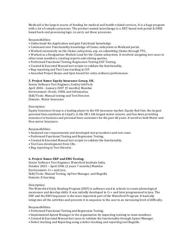 Web testing resume