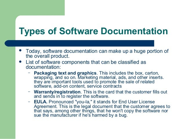 Types of Software Documentation    Today, software documentation can make up a huge portion of the overall product. List...