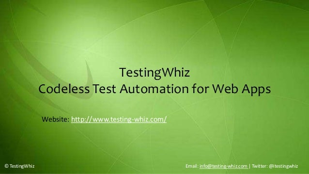 TestingWhiz – Test Automation Tool for Web Apps & Cloud Apps