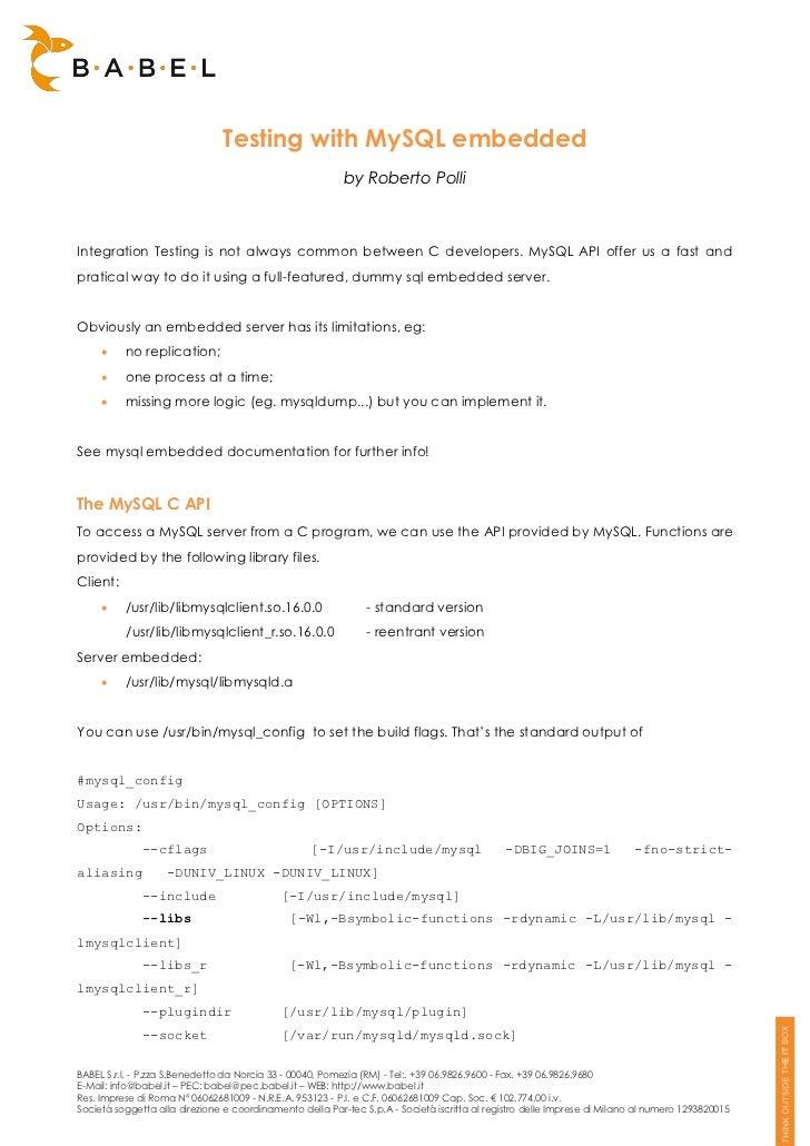 Testing with MySQL embedded