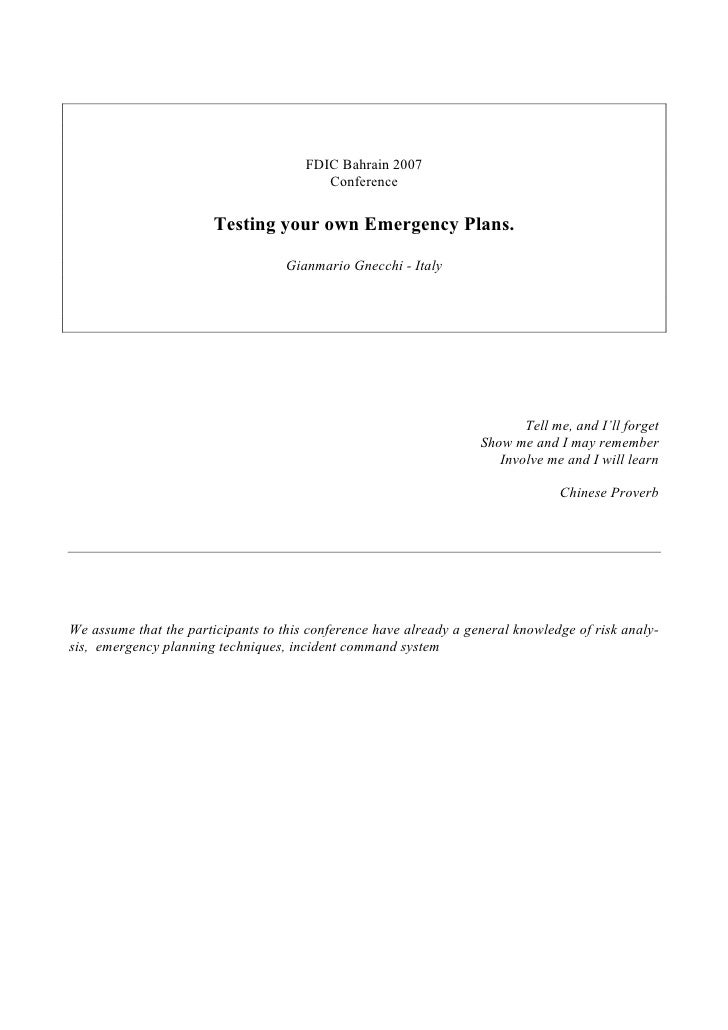 Testing Your Own Emergency Plans