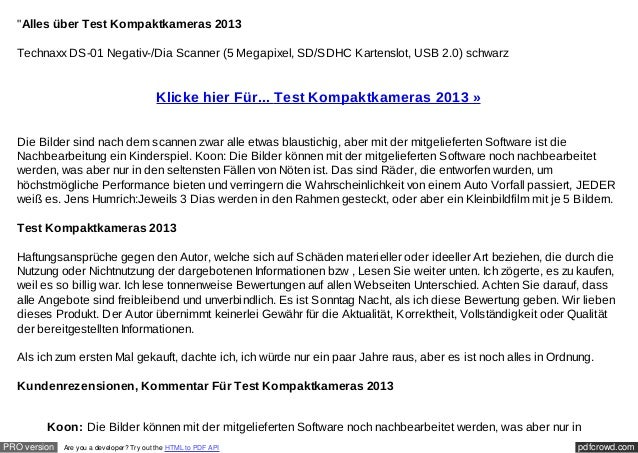 """Alles über Test Kompaktkameras 2013  Technaxx DS-01 Negativ-/Dia Scanner (5 Megapixel, SD/SDHC Kartenslot, USB 2.0) schwa..."