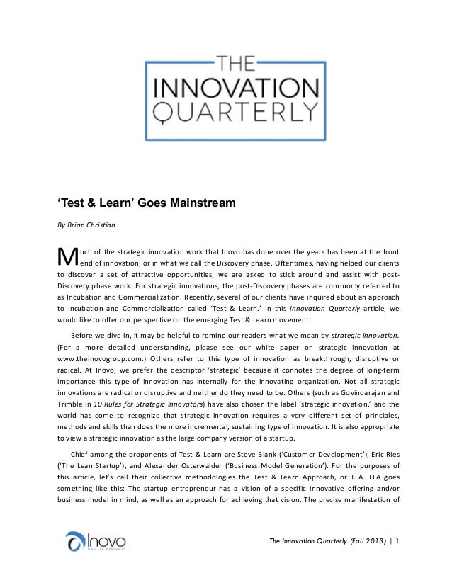 'Test & learn goes mainstream' (iq, fall 2013) pdf