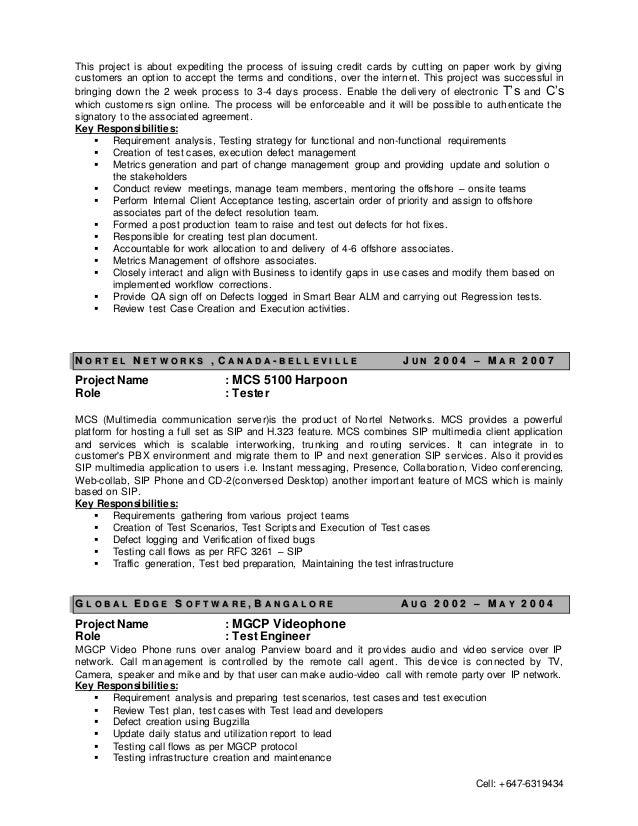 test manager resume