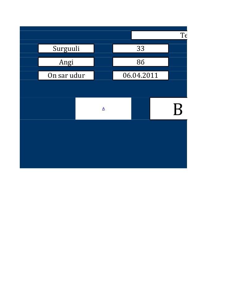 Test Surguuli            33   Angi              8бOn sar udur       06.04.2011              A                             ...