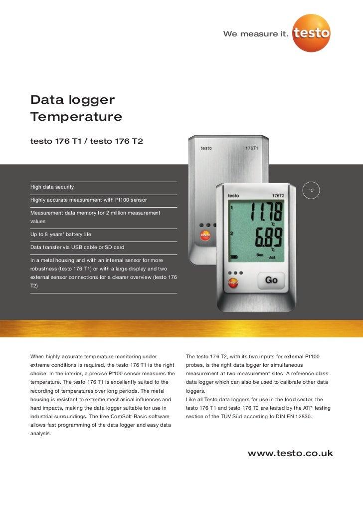 Testo 176 t1-t2 datasheet