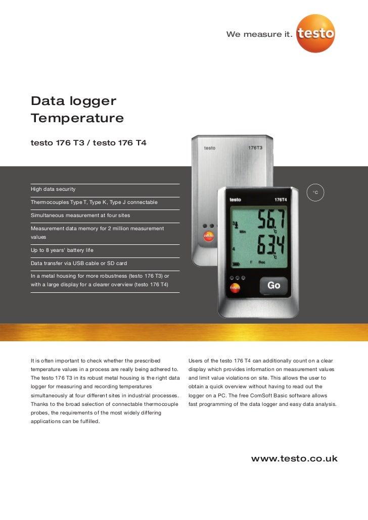 Testo 176 t3-t4 datasheet