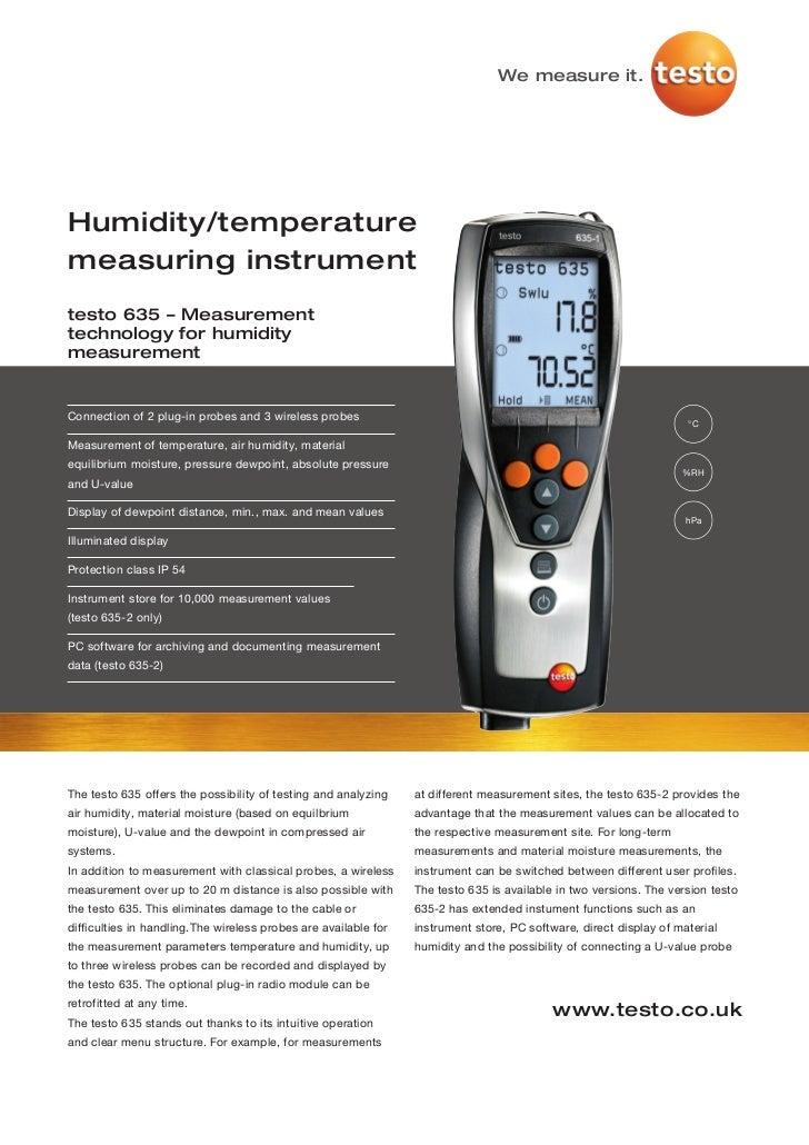 We measure it.Humidity/temperaturemeasuring instrumenttesto 635 – Measurementtechnology for humiditymeasurementConnection ...