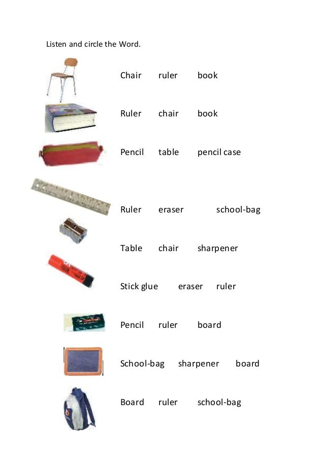 listen and circle the word chair ruler book ruler chair