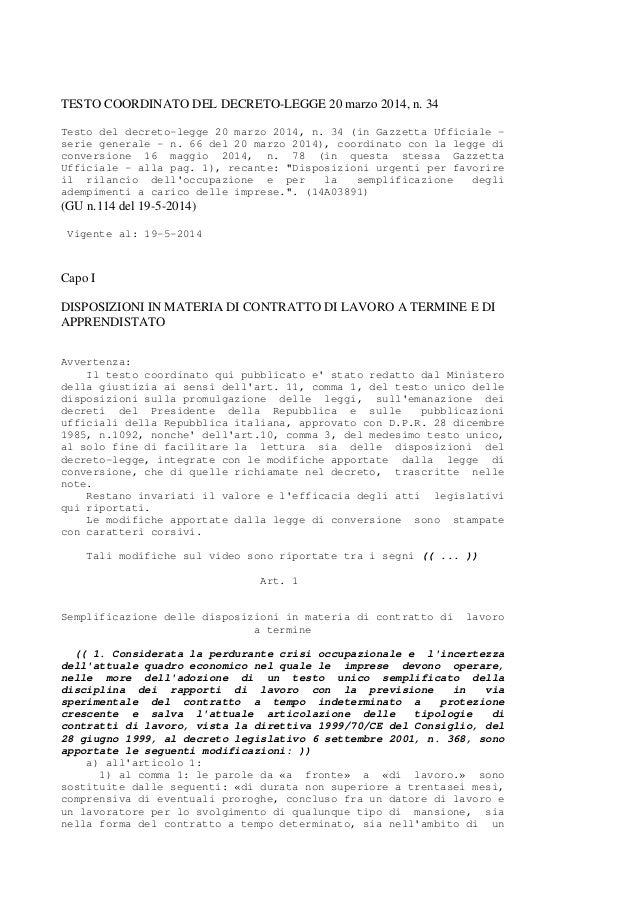 TESTO COORDINATO DEL DECRETO-LEGGE 20 marzo 2014, n. 34 Testo del decreto-legge 20 marzo 2014, n. 34 (in Gazzetta Ufficial...