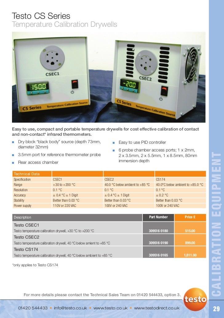Testo cs series   temp calibration drywell