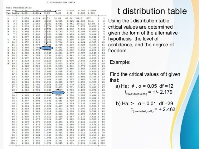 distribution table using the t distribution table critical values