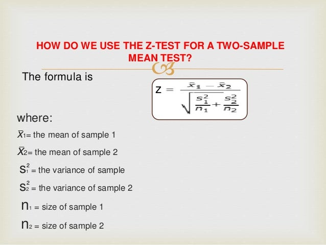 The formula is z 2   where  F Test Formula