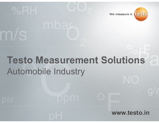 Testo mesurement solutions for automobile industry applications